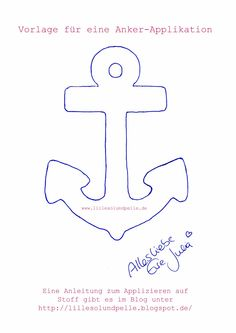 Anker Applikation / anchor appliqué / Anleitung Applizieren / Instruction How to applique Sewing Appliques, Applique Patterns, Sewing Patterns, Sewing Hacks, Sewing Tutorials, Sewing Crafts, Deco Marine, Creation Couture, Sewing Projects For Beginners