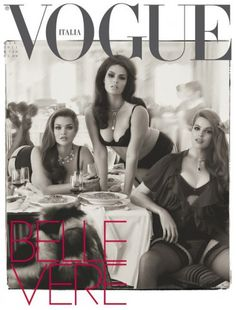 Robyn Lawly, Tara Lynn and Candice Huffine on the cover of Italian Vogue