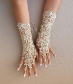 cappuccino Wedding gloves free ship bridal lace fingerless french lace arm warmers mittens cuff gauntlets fingerloop, Long lace glove