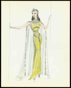 New School Archives: Digital Collections: Drawing/Painting/Print: Ancient Roman Gown in Green-Yellow with Cape [KA0055_k04_f06_17]