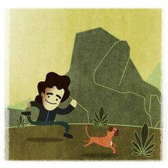 A boy running with his dog illustration