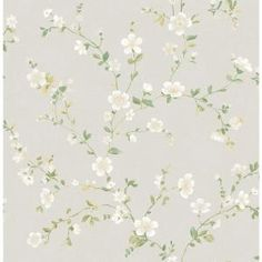 A-Street 56 sq. ft. Delphine White Floral Trail Wallpaper 2657-22251 at The Home Depot - Mobile