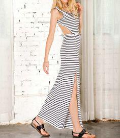Fashion Women Maxi Dress Sleeveless Stripe Thigh Split Loose Blackless Casual…