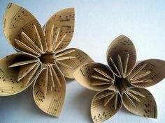 Origami Flowers from Vintage Music Sheets.  (I MADE THEM! - May, 2012)