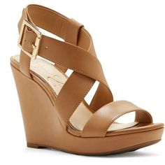 Jessica Simpson Crisscross-Strap Wedge-Heel Sandals ($59) ❤ liked on Polyvore featuring shoes, sandals, tan, heeled sandals, jessica simpson sandals, tan wedge sandals, wedge heel sandals and wedges shoes #sandalsheelswedge