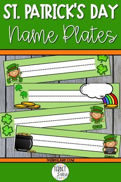 Patrick's Day themed desk name plates for the classroom. 4 different designs. Desk name plates classroom. Desk name tags classroom. Classroom Desk, Classroom Activities, Cubby Labels, Desk Name Tags, Curriculum, Homeschool, School Site, Teacher Tools, Upper Elementary