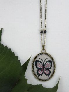 Butterfly Cross Stitch Necklace, Butterfly Jewelry, Butterfly Pendant, Cross Stitch Jewelry Gift for Her, Textile Jewelry Butterfly Necklace by TriccotraShop on Etsy