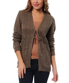 Another great find on #zulily! Coffee Crocheted Tie Cardigan by Polkadot #zulilyfinds