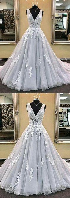 Deep V-neck Ball Gown Wedding Dress with Applique Bridal Dresses BDS0321