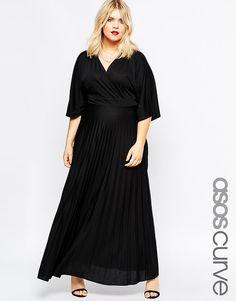 Image 1 ofASOS CURVE Kimono Maxi Dress with Pleated Skirt