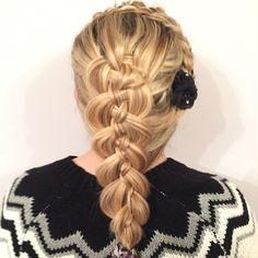 Laced headband braid into a 5 strand. - #hair #hairup #updo #hairstyles #instabraid #cgh #cutegirlshairstyles #hairdresser #hairdressing #hairofinstagram #instahair #fabulous #pretty #curls #followme #weddinghair #prom #promhair #party #partyhair  #bridalhair #hairdesign #mobilehair #telford #braids #plaits