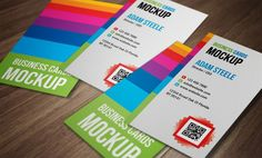 Free Vertical Business Cards PSD Mockup