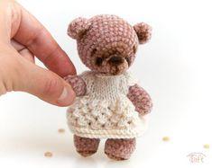 Amigurumi miniature teddy bear toy, crochet stuffed plush bear animal with clothes Bear Animal, Teddy Bear Toys, Crochet Teddy, Plush Animals, Cotton Thread, Wool Yarn, Black Cotton, Facial, Bead