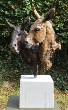 #Bronze #sculpture by #sculptor Judy Boyt titled: 'The Violettas ... I`m boss! (Pair Donkey`s Heads statue)'. #JudyBoyt