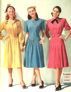 Colorful 1940s fashion.....those were the days when ladies dressed like ladies!
