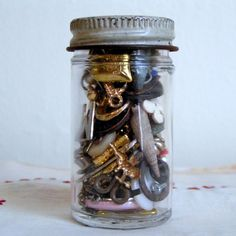 vintage jar of tiny things