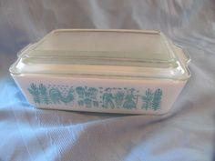 Vintage Pyrex Butterprint Turquoise & White #0503 1 1/2 qt. Baking Dish w Lid | eBay