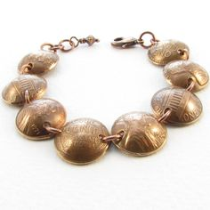 Domed Penny Bracelet II by christinavitale on Etsy Penny Bracelet, Hand Bracelet, Bracelet Making, Jewelry Making, Do It Yourself Fashion, So Little Time, Mind Blown, Monet, Making Ideas