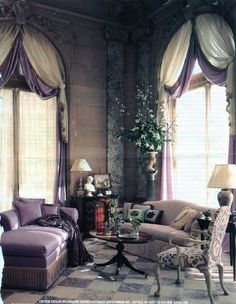 Ornamented classical window treatment for arched windows. Arched Window Treatments, Arched Windows, Window Coverings, Outdoor Living Rooms, Home Living Room, Purple Interior, Window Styles, Curtain Designs, Beautiful Interiors