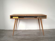 Jeremiah Collection Mid Century Desk With Wood Legs by jeremiahcollection on Etsy