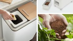 New Food Recycling Appliance Will Turn Scraps Into Fertilizer in 24 Hours | Mental Floss Modern Kitchen Trash Cans, Composting Process, Garden Compost, Dry Leaf, Free Activities, Food Waste, New Kitchen, New Recipes, Baking Soda