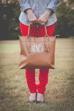 Monogrammed Faux Leather Tote Purse Bag by SouthernTradeMark | check out my blog >>> fashionsheriffjennbee.blogspot.com