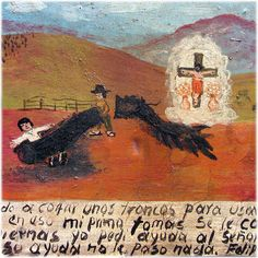 Ex-Voto Mexican Visionary Painting - Felipe Martinez - Early 1900's