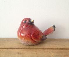 Red Ceramic Bird Figurine Bird Decor Spring by LillyQueenVintage, $12.00
