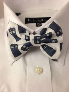 Doctor Who Tardis Print Bowtie by 2marys on Etsy, $8.00. My husband better wear this to our wedding