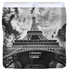 Pencil Duvet Cover featuring the drawing Eiffel Tower by Michal Straska