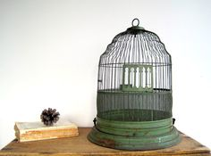 Vintage bird cage in a pretty green~
