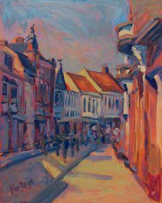 """""""Warm Autumn light in the Nieuwlandstraat"""" / """"Warm herfstlicht in de Nieuwlandstraat"""", Tilburg, olieverf, Nop Briex"""