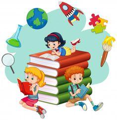Three kids reading books vector image on VectorStock School Murals, Art School, High School, Kids Reading Books, Cartoon Books, School Clipart, Cartoon Background, Art Drawings For Kids, School Decorations