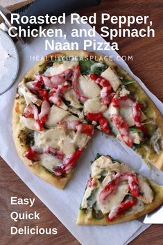 This Roasted Red Pepper, Chicken, and Spinach Naan Pizza is a breeze to make and super delicious. Its perfect when you want a quick and easy, but flavorful lunch or dinner meal. White Pizza Recipes, Healthy Pizza Recipes, Chicken Stuffed Peppers, Pepper Chicken, Cheesy Pizza Recipe, Peppers Pizza, Basil Pesto Recipes, Naan Pizza, Making Homemade Pizza