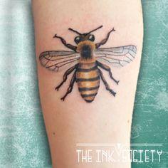 Honeybee tattoo, Bee tattoo by Wietske www.theinksociety.nl www.facebook.com/theinksocietyNL