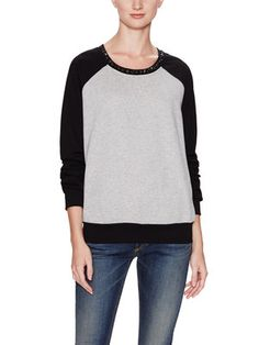 French Terry Jeweled Colorblocked Sweatshirt