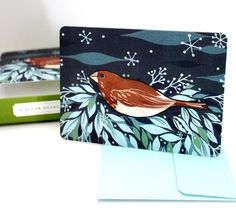 "snowy bird notecards set at http://shop.boygirlparty.com -- get it in time for the holidays! select ""priority mail"" as the shipping method at checkout."