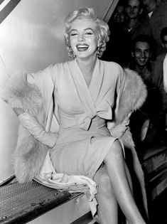 """Marilyn Monroe posing for photographers in New York, 1954. """