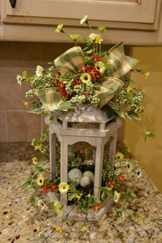 Cream Wooden Lantern with Flowers and Nest by kristenscreations