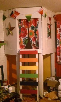 These people built their kids a treehouse in the living room...WIN.
