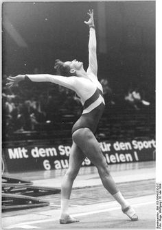Gymnast Birgit Senff performing on floor exercise (1984).