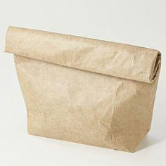ポリエチレン紙袋型ケース 茶・約380×210×80mm