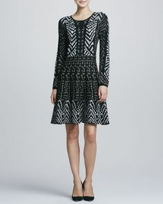 Congo-Print Jersey Fit & Flare Dress by Carmen by Carmen Marc Valvo at Neiman Marcus.