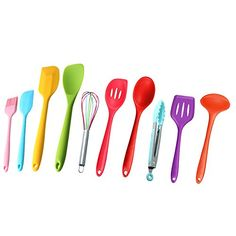 Keynew 10 Piece Premium Silicone Kitchen Cooking Utensils Set in Assorted Colors Heat Resistant Baking * Click image for more details.(It is Amazon affiliate link) #2018