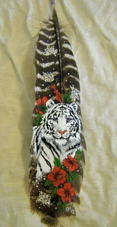 Tranquil Tiger Feather Painting by Eireme on DeviantArt Painted Feathers, Painted Leaves, Hand Painted, Turkey Feathers, Bird Feathers, Paper Feathers, Feather Painting, Feather Art, Feather Texture