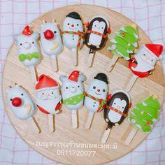 เค้กป๊อบ #เบญจวรรณร้านขนมตะมุตะมิ Christmas Themed Cake, Christmas Sweets, Christmas Themes, Kids Christmas, Christmas Cookies, Popsicle Art, Magnum Paleta, Yummy Ice Cream, Macarons