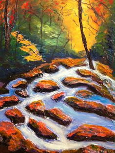 """Autumn Forest River"" acrylic - 12 x 16 The colours of fall in the forest and fantastic, the reds, yellow, greens and brown.  The cool crisp running river, quite peaceful."