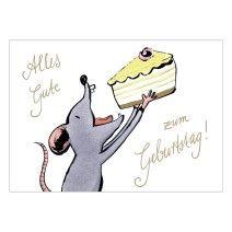 """""""Alles Gute zum Geburtstag"""" wünscht diese hungrige Maus mit Torte"""