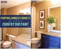 How to Paint Laminate Cabinets - Bathroom Vanity Makeover Using chalk-based paint via Life On Virginia Street