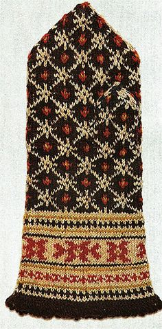 This pattern includes a fringe and a simple diamond pattern. The model was knit with dark brown, gold, red, and white yarn.